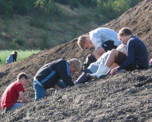 Børn leder efter fossiler i Gram Lergrav
